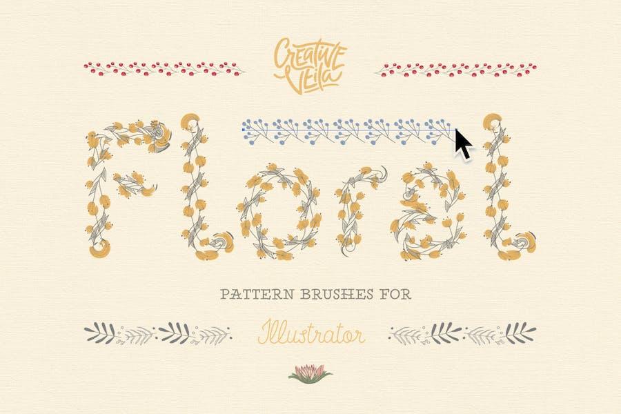 Floral Pattern Brushes For Illustrator