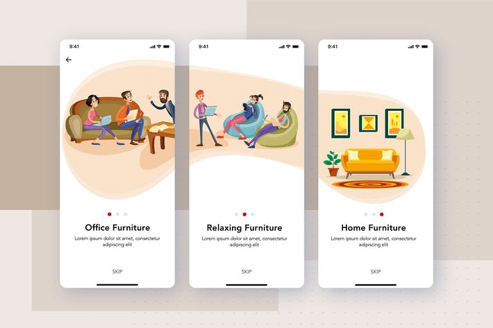 Thumbnail for 3 Onboarding screens for Furniture App