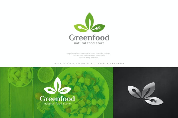 Cover Image For Green Food Logo Template