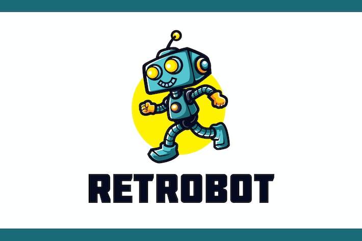 Thumbnail for Cartoon Happy Retro Robot Mascot Logo