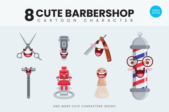 Thumbnail for 8 Cute Barbershop Vector Illustration 1