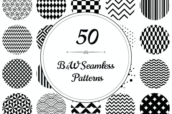 Thumbnail for 50 Geometric B&W Seamless Patterns