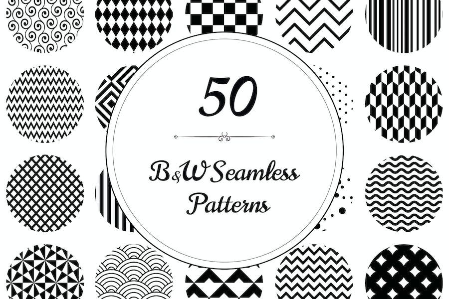 50 Geometric B&W Seamless Patterns