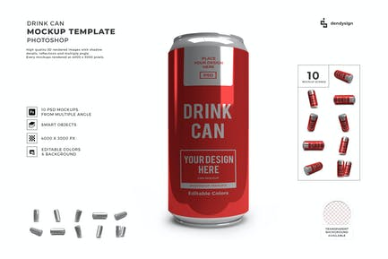 Drink Can Packaging Mockup Template Set
