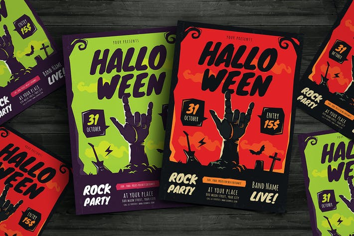 Thumbnail for Хэллоуин рок партии Флаер