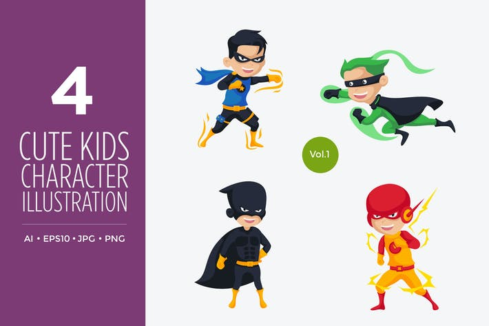 Thumbnail for Cute Kids Superhero Vector Character Set 1