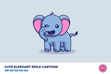 Cute Elephant Smile Cartoon