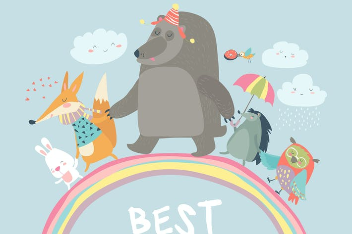 Thumbnail for Happy animals walking on rainbow. Vector