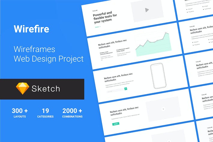 Thumbnail for Wireframe Web Design Project 300++ Sketch Version