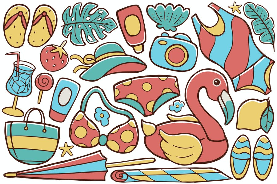 Sommer-Doodle-Vektor #02