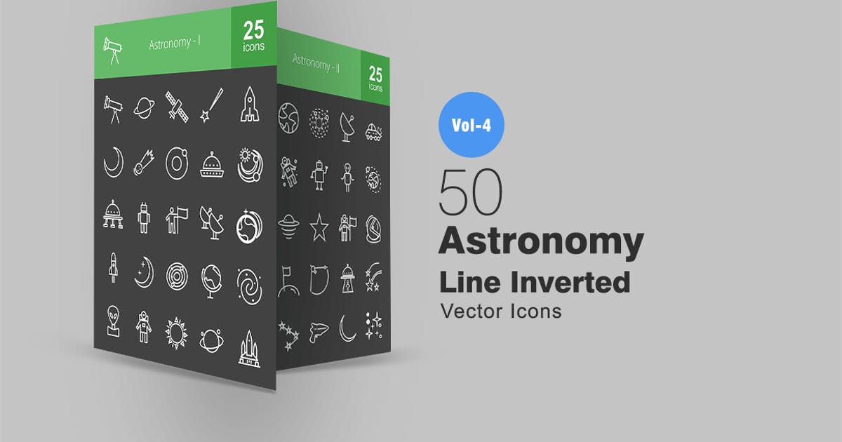Download 50 Astronomy Line Inverted Icons by IconBunny