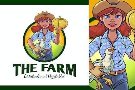 Lady Farmer Mascot Logo - Farm and Livestock Logo