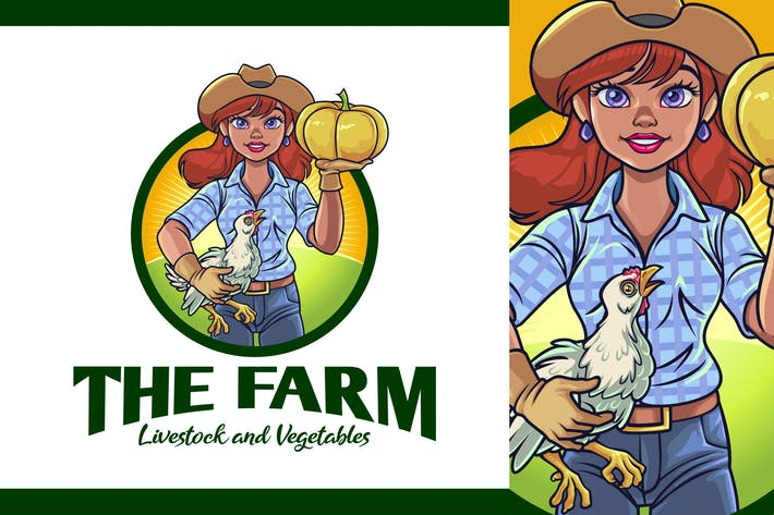 Thumbnail for Lady Farmer Mascot Logo - Farm and Livestock Logo