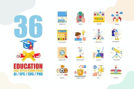 Education Flat Style Icon set
