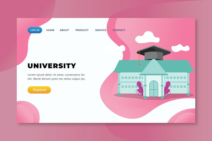 Thumbnail for University - XD PSD AI Vector Landing Page
