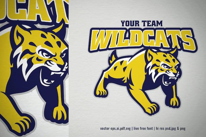 cartoon mascot logo of wildcat