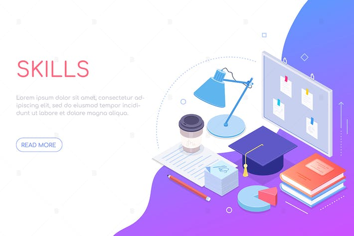 My skills - modern colorful isometric web banner