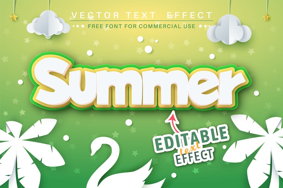 Summer - editable text effect, font style