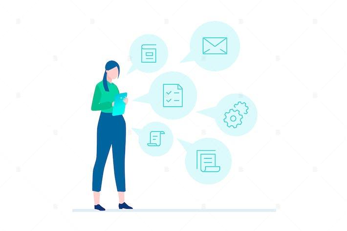 Thumbnail for Multitasking - flat design style illustration