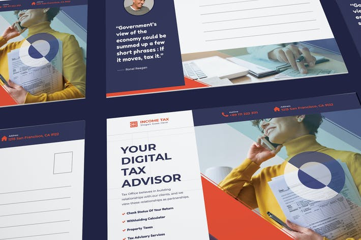 Thumbnail for Income Tax Postcard PSD Template