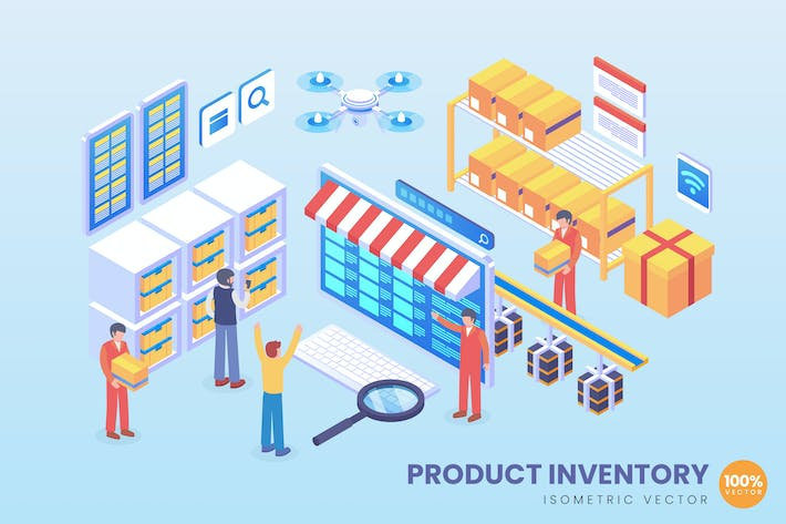 Thumbnail for Isometric Product Inventory Vector Concept