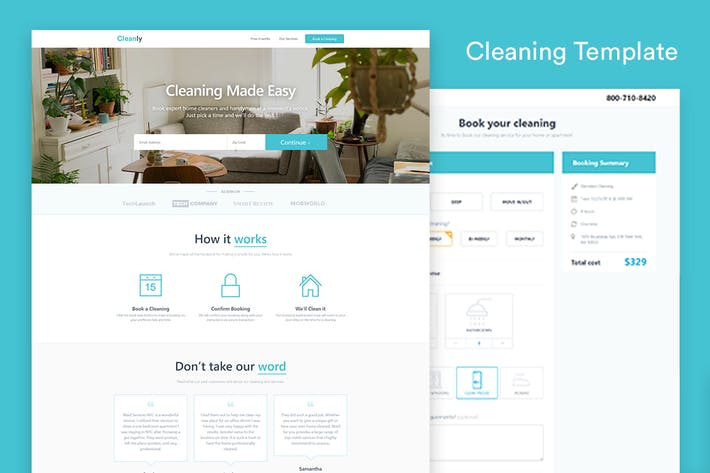 Thumbnail for Cleaning Landing Page Template — Cleanly