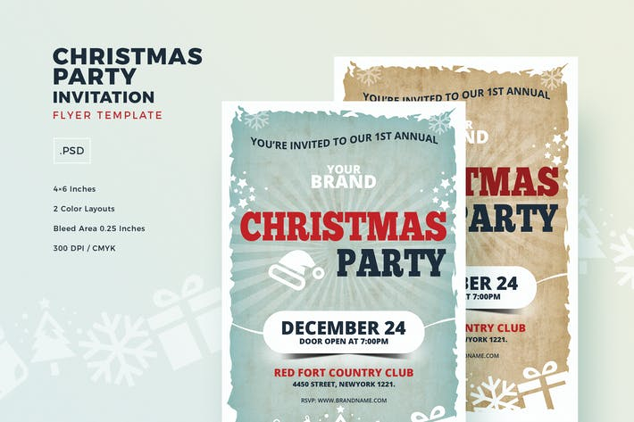 Thumbnail for Christmas Party Invitation Flyer Template