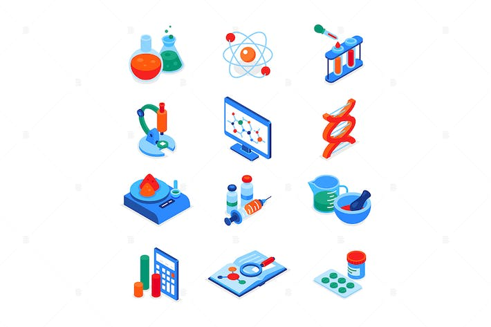 Thumbnail for Science and medicine - colorful isometric icons