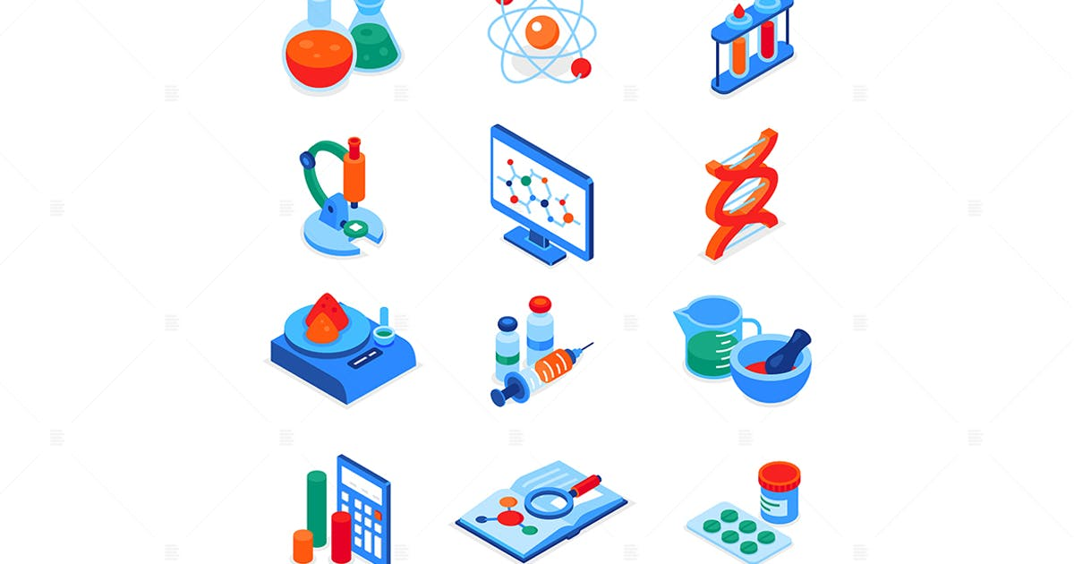 Download Science and medicine - colorful isometric icons by BoykoPictures