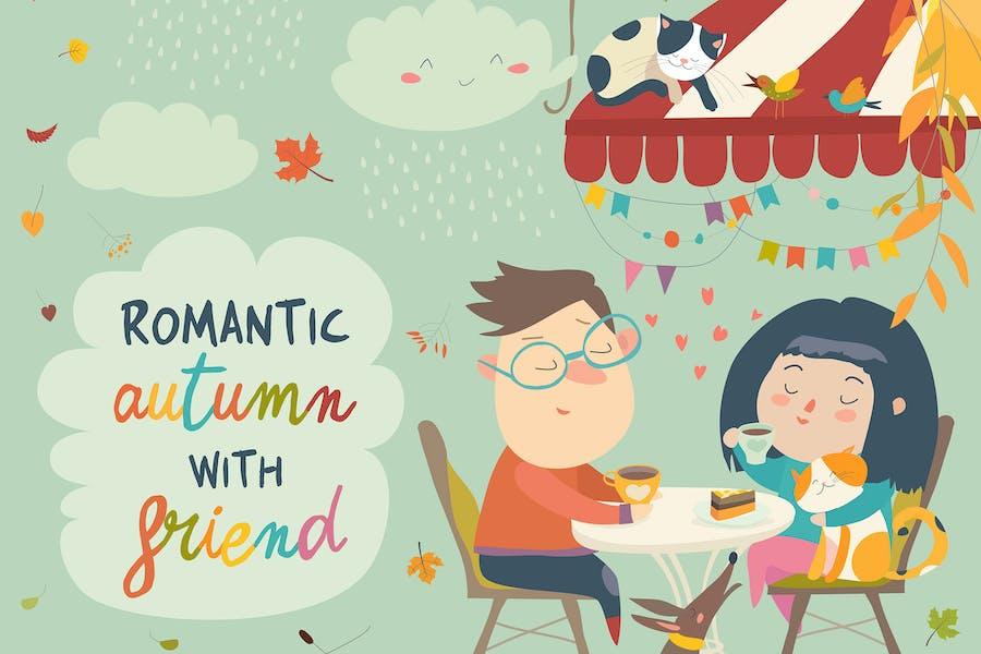 Ilustración Vector de pareja enamorada en una cita