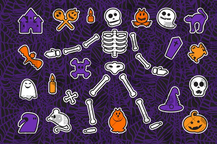 Thumbnail for Halloween Stickers Set