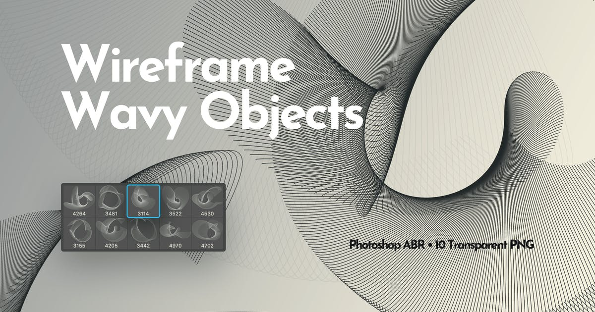 Download Wireframe Wavy Objects Photoshop Brushes by themefire