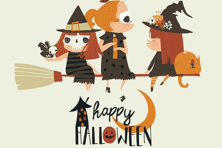 Thumbnail for Cute Halloween redheaded witches flying on broom.