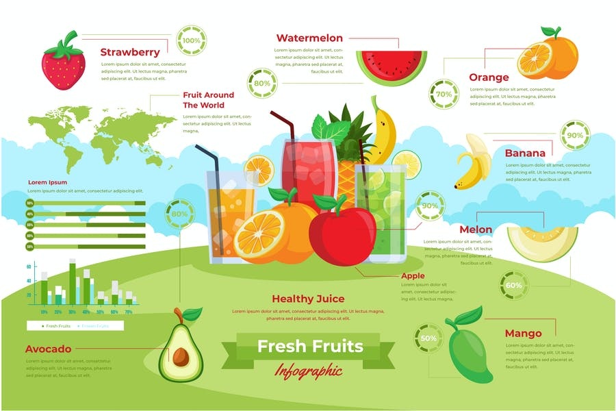 Fresh Fruit Infographic PSD and AI Vector Template
