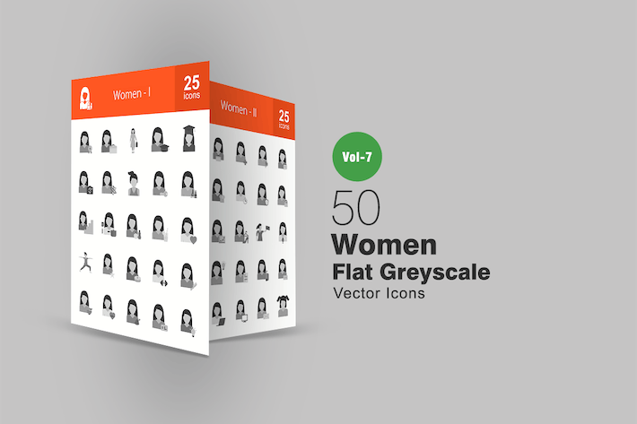 Thumbnail for 50 Women Flat Greyscale Icons