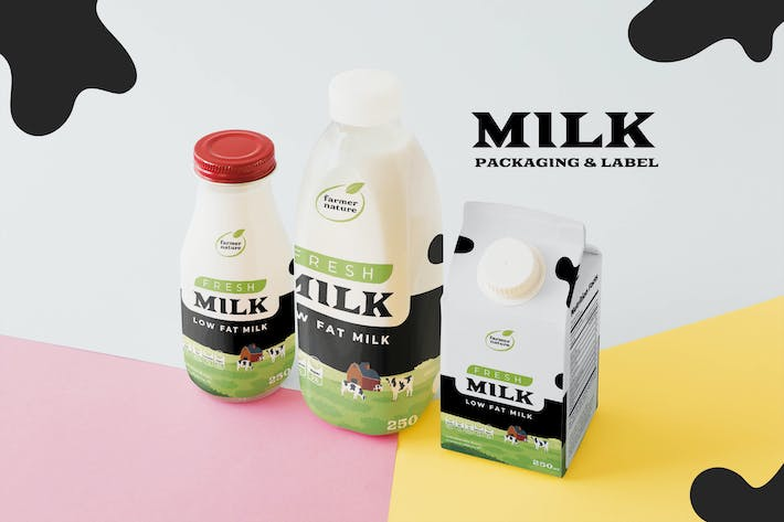 Cover Image For Milk Bottle and Box Packaging Template