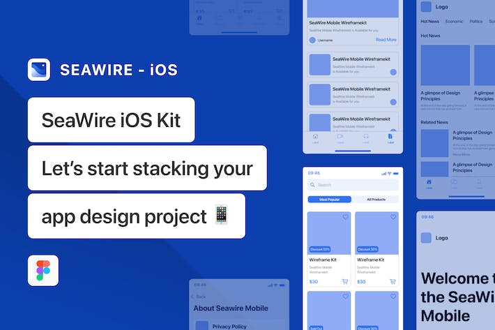 Thumbnail for iOS Mobile App Wireframe Kit - SeaWire