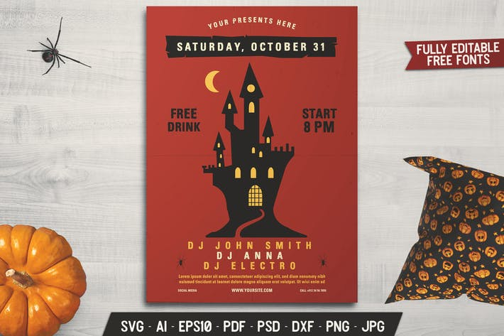 Thumbnail for Halloween Music Party Flyer Template