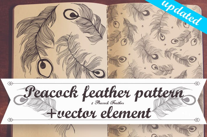 Thumbnail for Peacock feather vector/pattern