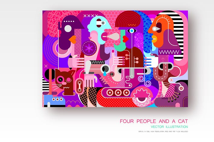 Thumbnail for Four People and a Cat vector illustration