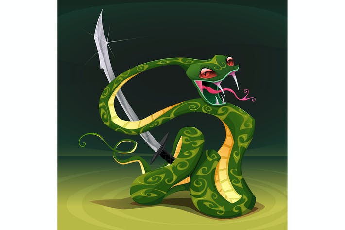Poisonous Snake with Saber