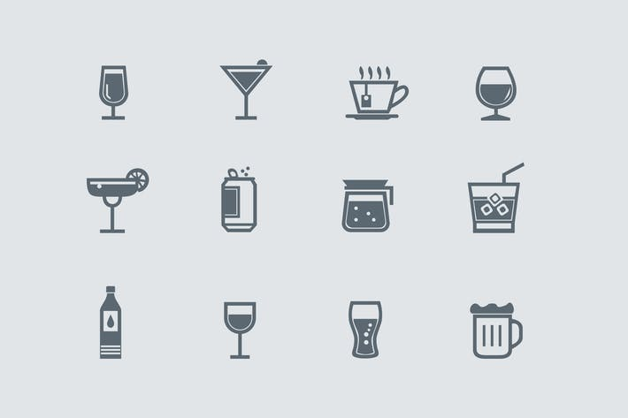 Thumbnail for 12 Drink and Beverage Icons