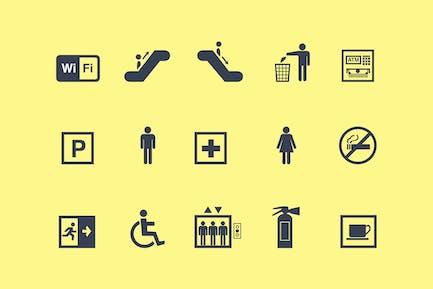 15 Icons für öffentliche Zeichen