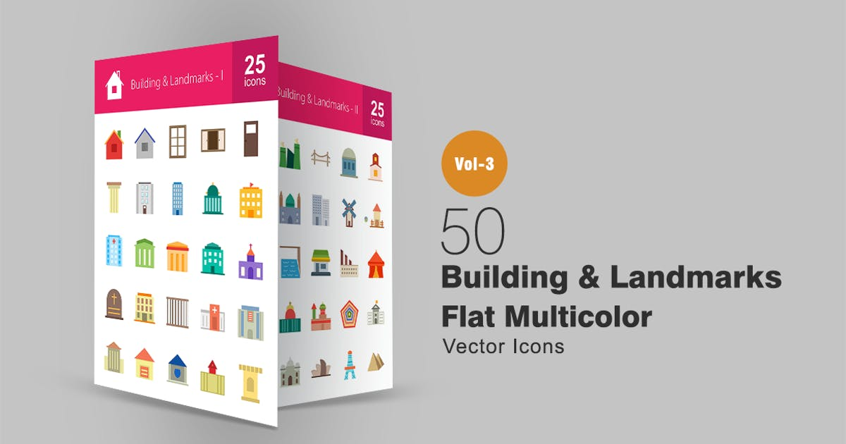 Download 50 Buildings & Landmarks Flat Multicolor Icons by IconBunny