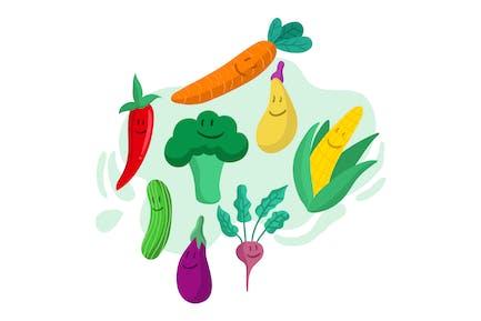 Healthy Vegetable Fun Cartoon Illustration