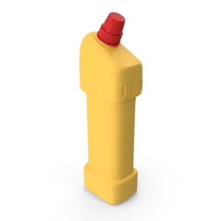 Botella de producto de limpieza amarillo con tapa roja