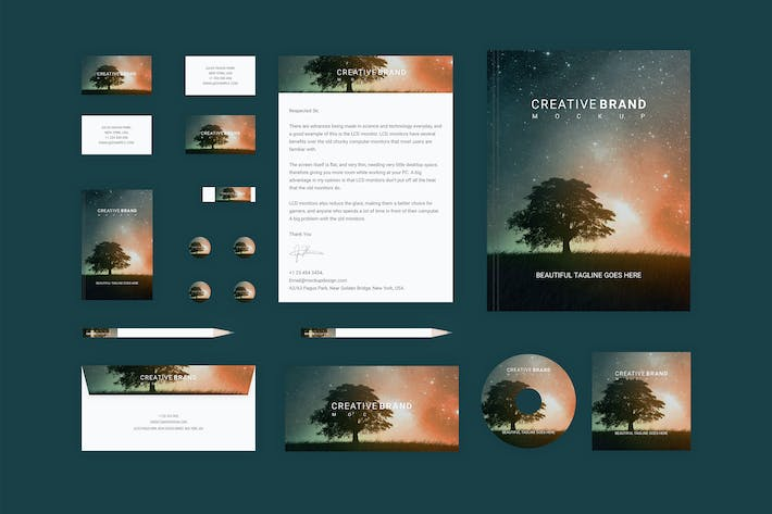 Thumbnail for Branding identity mock up -Starry Night for Sketch
