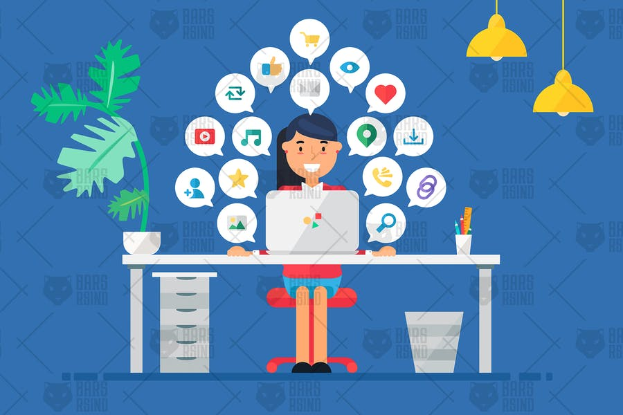 Online Business Workspace With Woman