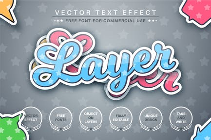 Layers origami -  editable text effect, font style