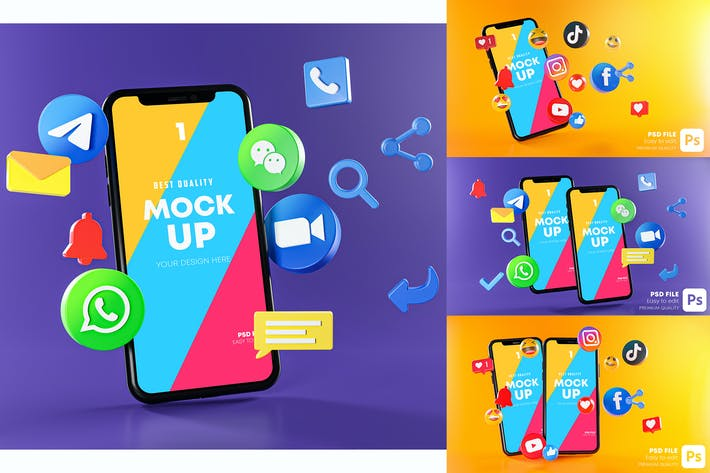 Thumbnail for Most Popular Social Media Phones Mockup